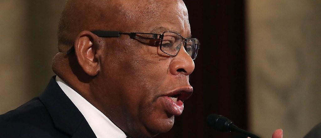 WASHINGTON, DC - JANUARY 11:  Rep. John Lewis (D-GA), reads a statement speaking out against Attorney General nominee Jeff Sessions (R-AL), during a Senate Judiciary Committee hearing on Capitol Hill, January 11, 2017 in Washington, DC. The committee is on its second day of the Sessions confirmation hearing.  (Photo by Mark Wilson/Getty Images)