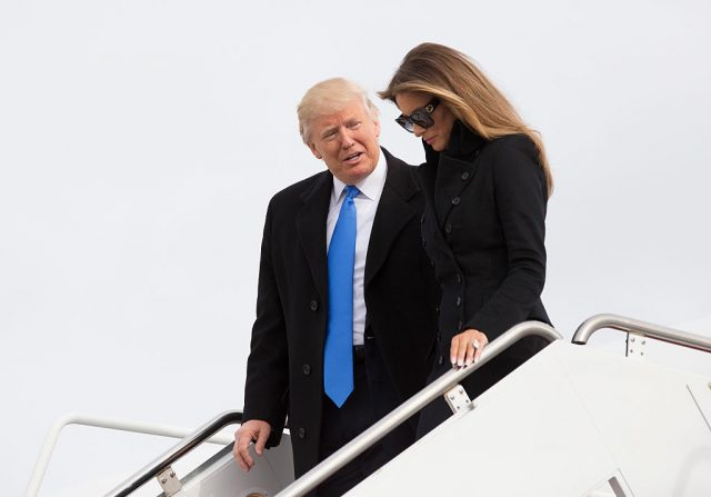 President-elect of The United States Donald J. Trump and first Lady-elect Melania Trump arrive at Joint Base Andrews the day before his swearing in January 19, 2017 in Maryland. (Photo by Chris Kleponis-Pool/Getty Images)