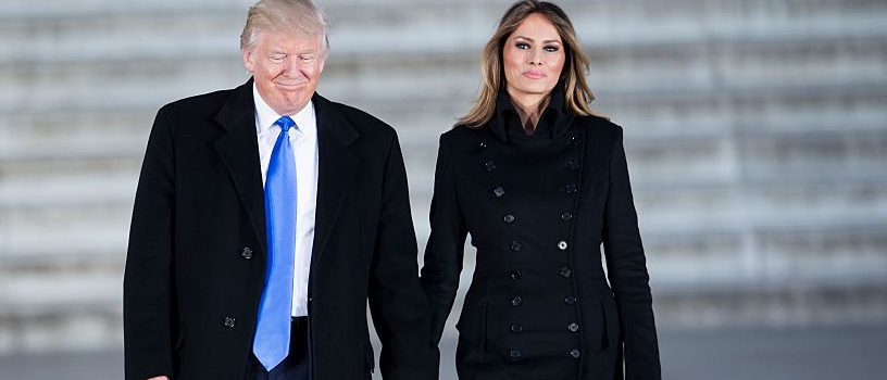 US President-elect Donald Trump and his wife Melania arrive to attend an inauguration concert at the Lincoln Memorial in Washington, DC, on January 19, 2017. / AFP / Brendan Smialowski        (Photo credit should read BRENDAN SMIALOWSKI/AFP/Getty Images)