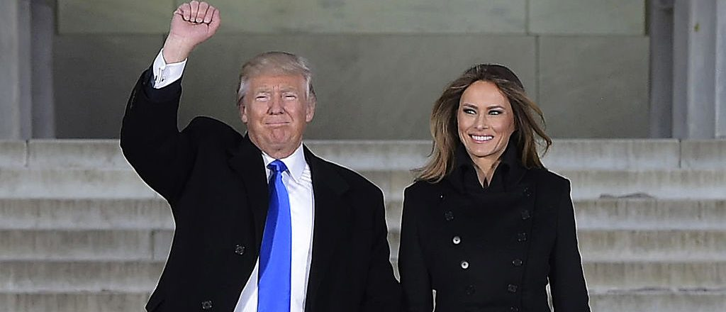 President-elect Donald Trump and his wife Melania arrive to attend an inauguration concert at the Lincoln Memorial in Washington, DC, on January 19, 2017. (Photo credit: MANDEL NGAN/AFP/Getty Images)