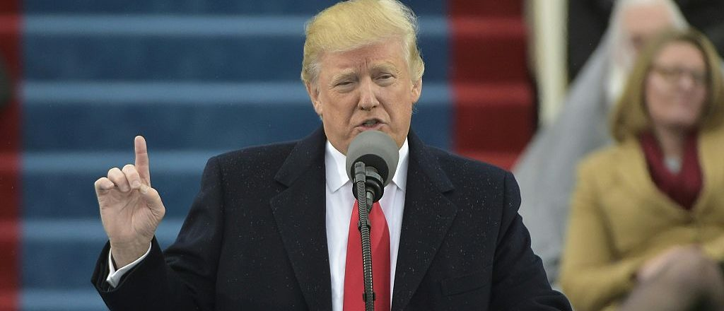President Donald Trump addresses the crowd during his swearing-in ceremony on January 20, 2017 at the US Capitol in Washington, DC. (Photo credit: MANDEL NGAN/AFP/Getty Images)