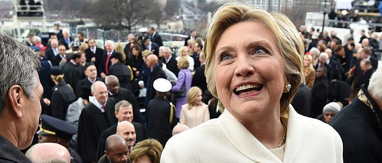 Former US presidential candidate Hillary Clinton leaves after the Presidential Inauguration at the US Capitol in Washington, DC, on January 20, 2017. / AFP / POOL / SAUL LOEB        (Photo credit should read SAUL LOEB/AFP/Getty Images)