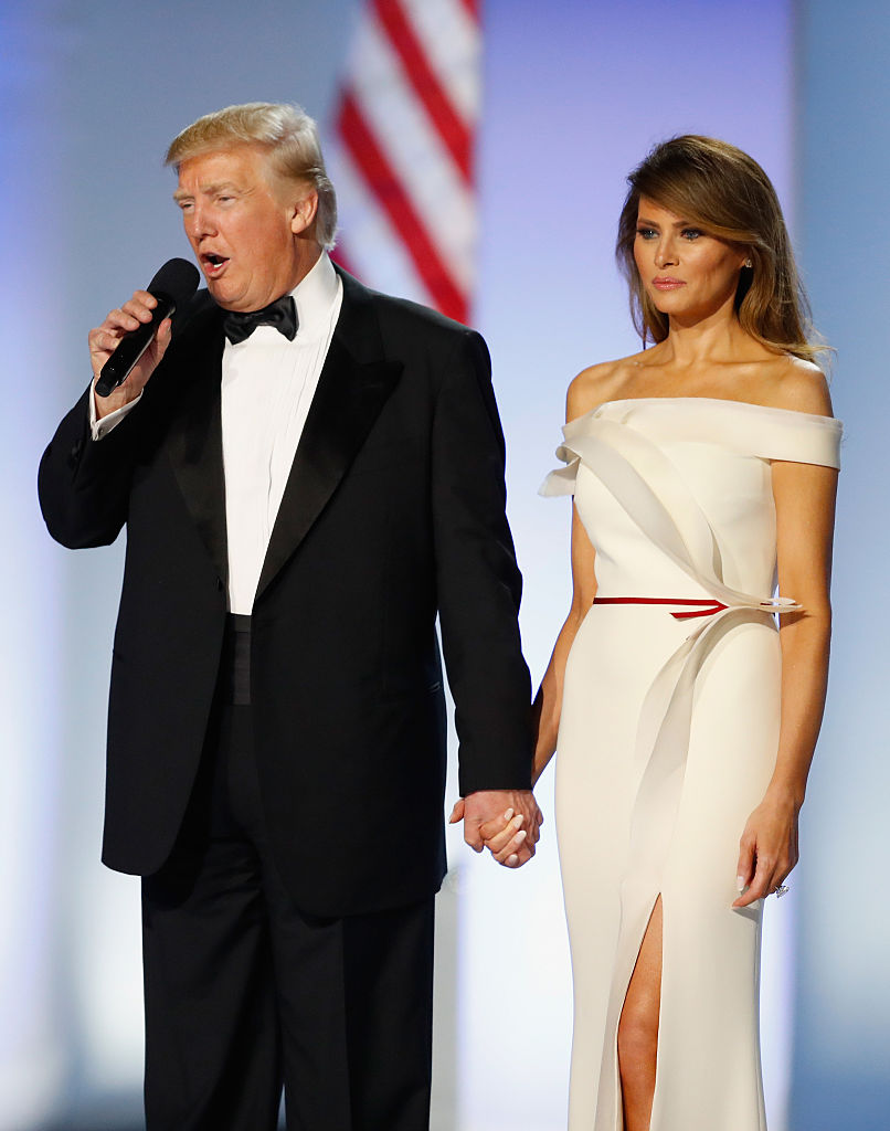 WASHINGTON, DC - JANUARY 20: President Donald Trump and first lady Melania Trump address the Freedom Inaugural Ball at the Washington Convention Center January 20, 2017 in Washington, D.C. President Trump was sworn today as the 45th U.S. President.