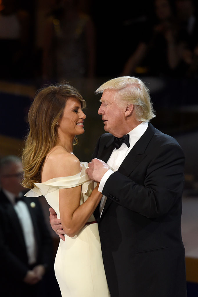 US President Donald Trump and First Lady Melania Trump dance during the Salute to Our Armed Services Inaugural Ball at the National Building Museum in Washington, DC, January 20, 2017.