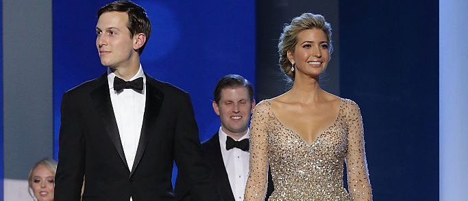 WASHINGTON, DC - JANUARY 20:  Ivanka Trump (R) and her husband Jared Kushner arrive at the Freedom Ball at the Washington Convention Center January 20, 2017 in Washington, DC. The ball is part of the celebrations following U.S. President Donald Trump's inauguration.  (Photo by Chip Somodevilla/Getty Images)