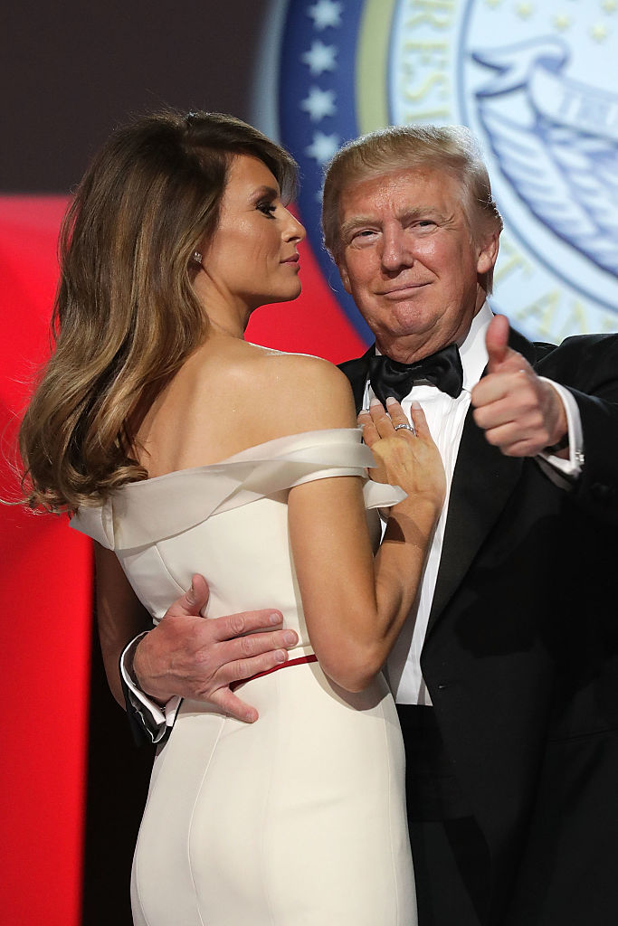 WASHINGTON, DC - JANUARY 20: U.S. President Donald Trump and first lady Melania Trump dance during the Freedom Ball at the Washington Convention Center January 20, 2017 in Washington, DC. The ball is part of the celebrations following Trump's inauguration. (Photo by Chip Somodevilla/Getty Images)