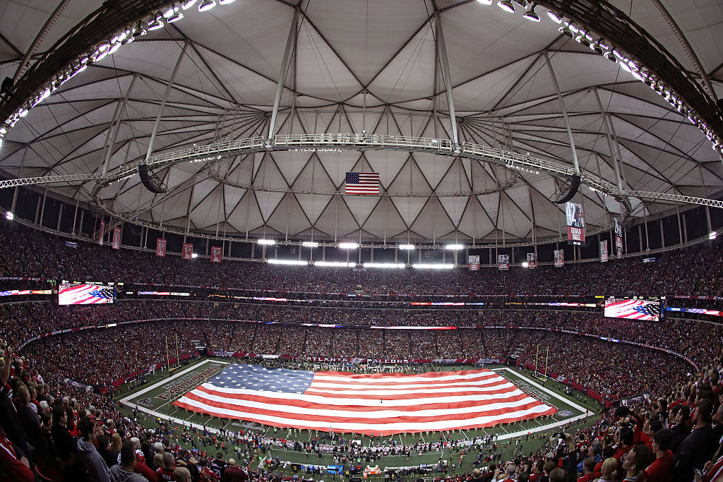 A general view as the national anthem is performed before the NFC Championship Game between the Atlanta Falcons and the Green Bay Packers at the Georgia Dome on January 22, 2017 in Atlanta, Georgia. (Photo by Mike Lawrie/Getty Images)