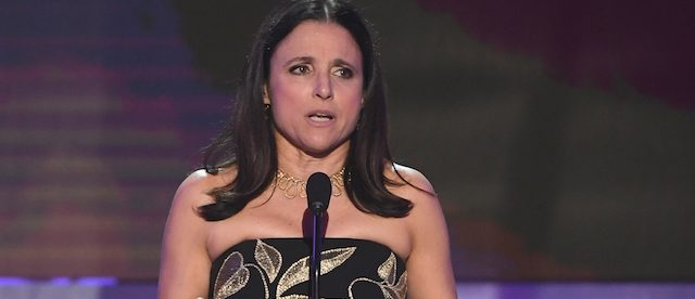 LOS ANGELES, CA - JANUARY 29: Actor Julia Louis-Dreyfus accepts Outstanding Performance by a Female Actor in a Comedy Series for 'Veep' onstage during The 23rd Annual Screen Actors Guild Awards at The Shrine Auditorium on January 29, 2017 in Los Angeles, California. 26592_014 (Photo by Kevin Winter/Getty Images )