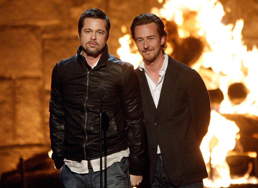 "(L-R) Honorees Brad Pitt and Edward Norton accept the Discretionary Guy Movie Hall of Fame for ""Fight Club"" onstage at Spike TV's 2009 ""Guys Choice Awards"" held at the Sony Studios on May 30, 2009 in Los Angeles, California. (Photo by Kevin Winter/Getty Images)"