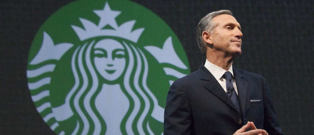 Starbucks Chief Executive Howard Schultz speaks during the company's annual shareholder's meeting in Seattle, Washington March 18, 2015. Starbucks Corp will begin offering delivery in New York City and Seattle later this year, when it also plans to expand mobile order and pay services across the United States. REUTERS/David Ryder