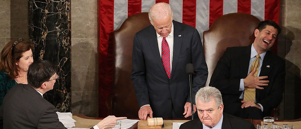 House Speaker Paul Ryan (R-WI) (R), reacts to U.S. Vice President Joseph Biden (C), saying the election is over during an objection on the counting of the electoral votes from the 2016 presidential election during a joint session of Congress, on January 6, 2017 in Washington, D.C. It was confirmed that President-elect Donald Trump won the election with 304 electoral votes to Hillary Clinton's 227. (Photo by Mark Wilson/Getty Images)