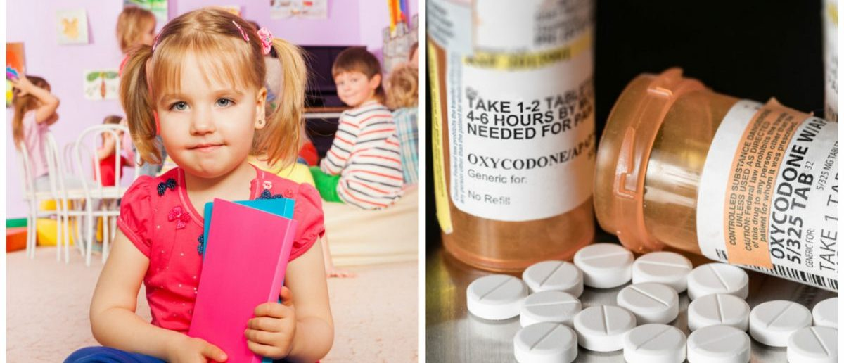 Left: Little girl with her book ready to learn in class. [Shutterstock - Sergey Novikov] Right: Prescription bottle of Oxycodone, the generic name for a range of opioid pain killing tablets. [Shutterstock - Steve Heap]