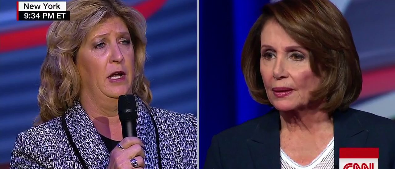 Laura Wilkerson confronts Nancy Pelosi (Screen capture from CNN video)