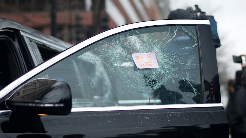 Limousine window smashed by protestors - Daily Caller - Abbey Jaroma