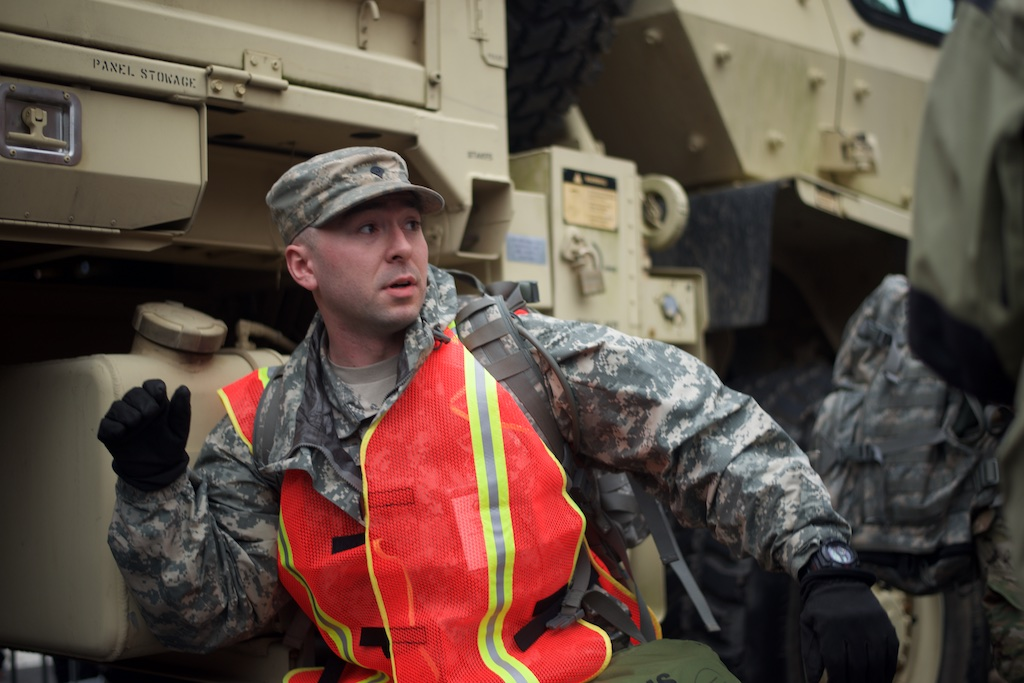 National Guardsman reacts to a police concussion grenade - Daily Caller - Abbey Jaroma