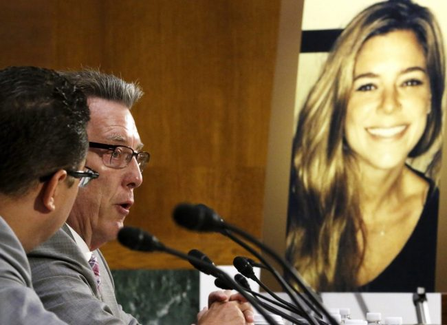 Jim Steinle (L), father of murder victim Kathryn Steinle (in photo, R), allegedly at the hands of an undocumented immigrant, testifies about his daughter's murder during a hearing of the Senate Judiciary Committee on U.S. immigration enforcement policies, on Capitol Hill in Washington July 21, 2015. REUTERS/Jonathan Ernst