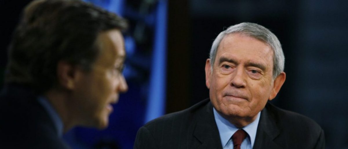 "Television journalist Dan Rather addresses his views on the state of television news on the FOX News Channel show ""Your World"" with David Asman (L) in New York June 12, 2007. REUTERS/Lucas Jackson (UNITED STATES)"