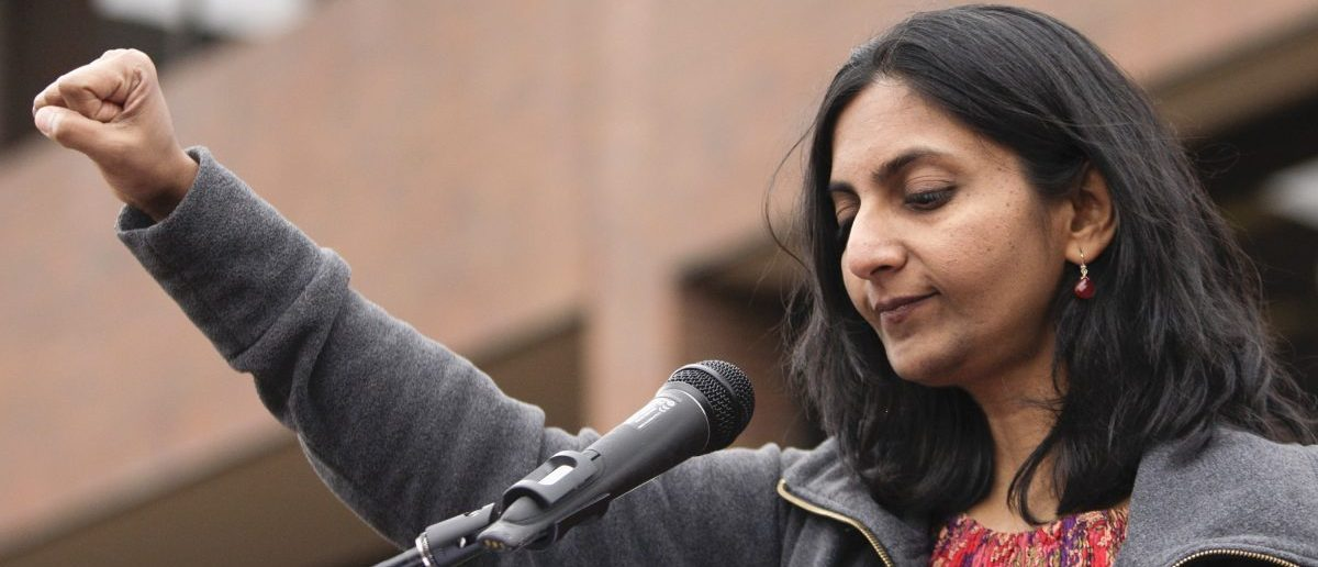 Seattle City Council member Kshama Sawant addresses people at a rally in support of a $15 minimum wage at Seattle Central Community College March 15, 2014. Voters in SeaTac, Washington recently passed a ballot initiative for $15 minimum wage.  REUTERS/Jason Redmond  (UNITED STATES - Tags: POLITICS CIVIL UNREST BUSINESS EMPLOYMENT) - RTR3H8PW