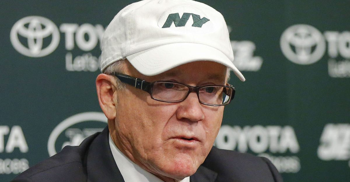 Dec 29, 2014; Florham Park, NJ, USA; New York Jets chairman and chief executive officer Woody Johnson addresses the media regarding the dismissal of general manager John Idzik (not pictured) and head coach Rex Ryan (not pictured) at the Atlantic Health Jets Training Center. Mandatory Credit: Jim O'Connor-USA TODAY Sports/Reuters
