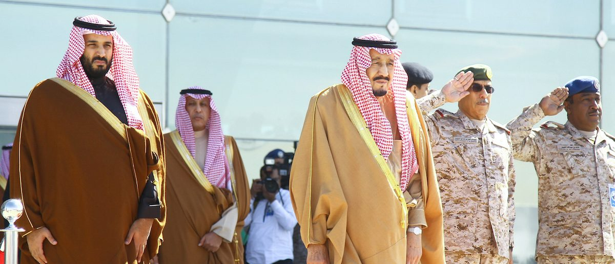 Saudi King Salman and Saudi Deputy Crown Prince Mohammed bin Salman attend a graduation ceremony and air show marking the 50th anniversary of the founding of King Faisal Air College in Riyadh, Saudi Arabia, January 25, 2017. REUTERS/Faisal Al Nasser