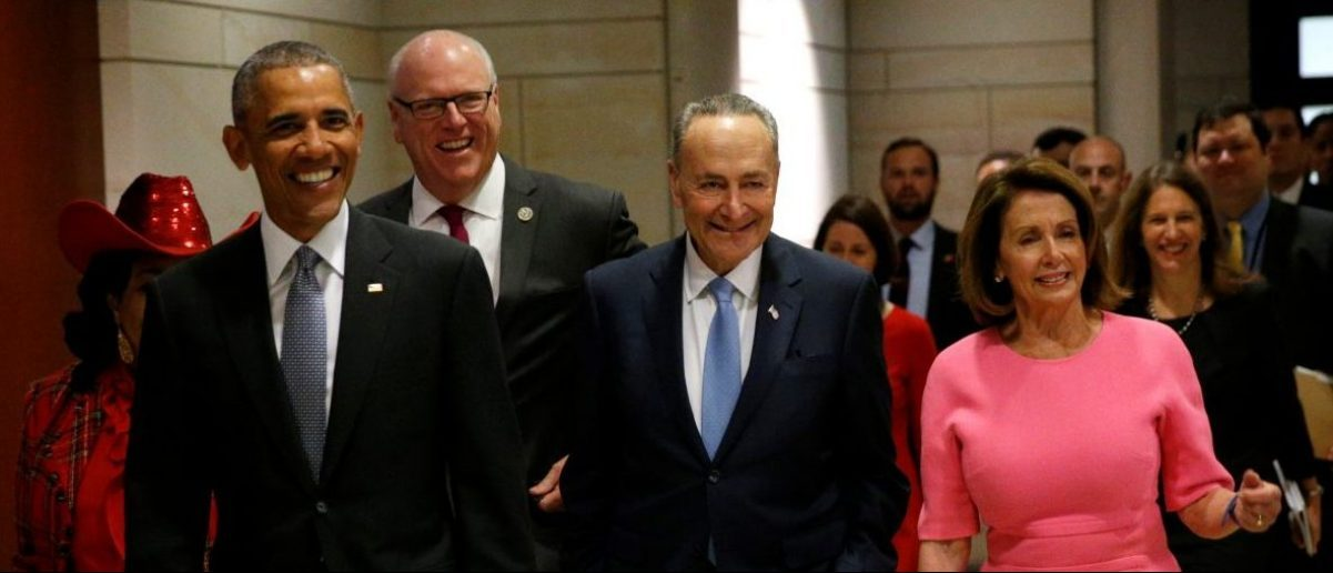 U.S. President Barack Obama arrives with New York Rep. Joe Crowley (back, 3rd R), Senate Democratic Leader Chuck Schumer (2nd R) and House Democratic Leader Nancy Pelosi (R) at the the U.S. Capitol in Washington, U.S. January 4, 2017. REUTERS/Kevin Lamarque