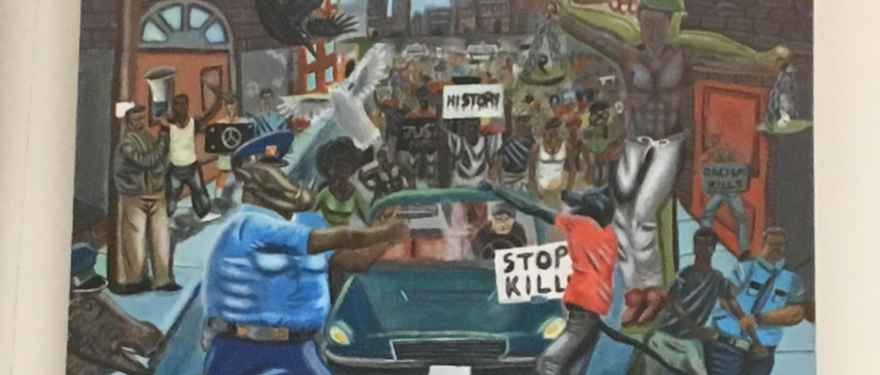"""Untitled #1"" Painting by St. Louis High School student depicting police as pigs (Photo: Daily Caller/Kerry Picket)"