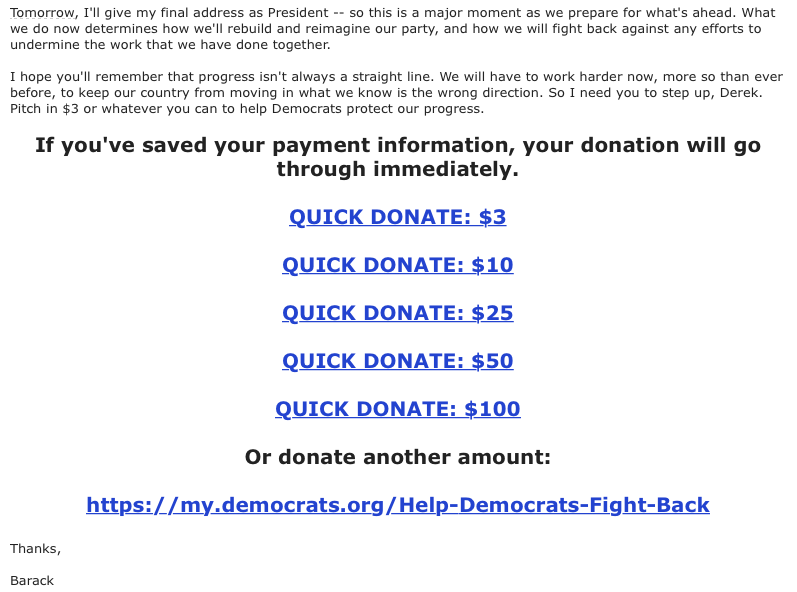Screen capture from DNC fundraising email.