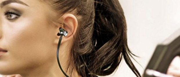 This girl is wearing Aukey wireless headphones (Photo via Amazon)