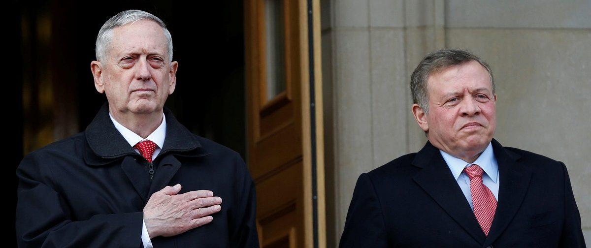 U.S. Defense Secretary James Mattis welcomes Jordan King Abdullah at the Pentagon in Washington