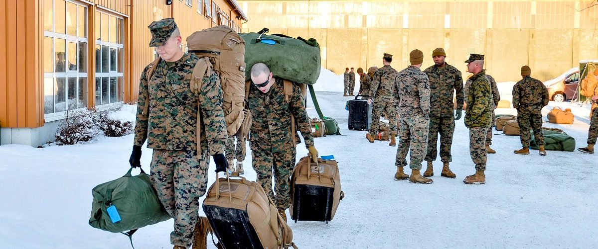 U.S. Marines, who are to attend a six-month training to learn about winter warfare, arrive in Stjordal