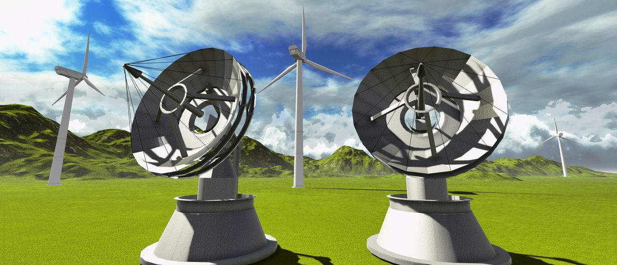 Satellite dishes and wind turbines (Shutterstock/ Dariush M)