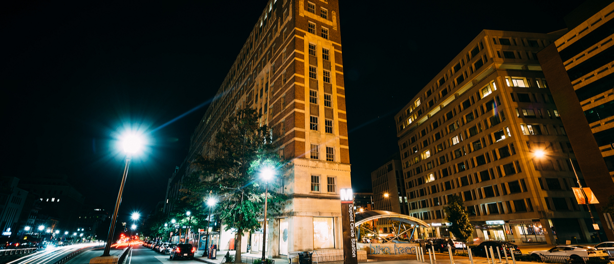 Dupont Circle in Washington, D.C., at night (Jon Bilous/Shutterstock)