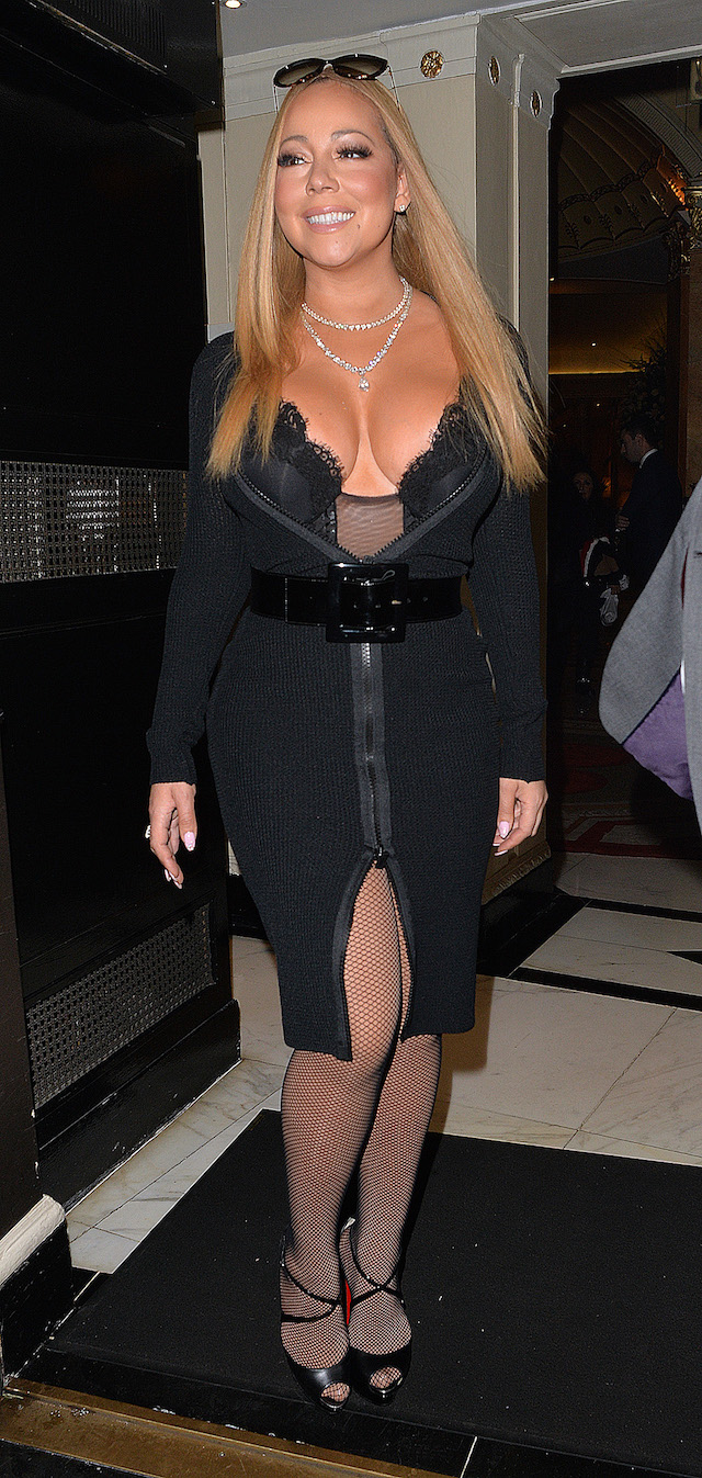 In the shots, the singer was captured in fish net stockings, black high heels and a skin-tight black mini dress that was unzipped down to her stomach revealing almost all of her chest.