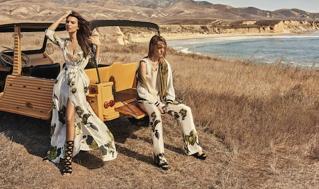 Emily Ratajkowski shows off her bikini body as she models for Italian brand, Twinset. The Blurred Lines stunner, 25, poses by the sea along with model Sasha Pivovarova in the spring-summer 2017 campaign for the fashion house. The pair wear bohemian inspired looks including maxi dresses, crochet tunics and embellished jackets. The campaign was shot by Giampaolo Sgura. Editorial use only. *Mandatory credit Splash/Twinset/Giampaolo Sgura* <P> Pictured: Emily Ratajkowski and Sasha Pivovarova model for Twinset campaign <B>Ref: SPL1431599 300117 </B><BR /> Picture by: Splash News/Twinset<BR /> </P><P> <B>Splash News and Pictures
