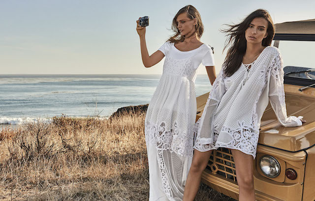 Emily Ratajkowski shows off her bikini body as she models for Italian brand, Twinset. The Blurred Lines stunner, 25, poses by the sea along with model Sasha Pivovarova in the spring-summer 2017 campaign for the fashion house. The pair wear bohemian inspired looks including maxi dresses, crochet tunics and embellished jackets. The campaign was shot by Giampaolo Sgura. Editorial use only. *Mandatory credit Splash/Twinset/Giampaolo Sgura* <P> Pictured: Emily Ratajkowski and Sasha Pivovarova model for Twinset campaign <B>Ref: SPL1431599 300117 </B><BR /> Picture by: Splash News/Twinset