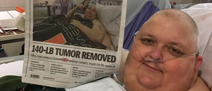 Roger Logan celebrates his successful surgery. (Photo courtesy of Kitty Logan)
