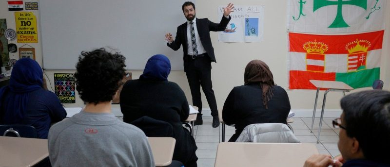 Nadeem Mazen, Cambridge city councillor, Muslim and founder of JetPAC, speaks to students in the AP Government class at Al-Noor Islamic high school in Mansfield, Massachusetts, U.S. February 2, 2017. Picture taken February 2, 2017. REUTERS/Brian Snyder