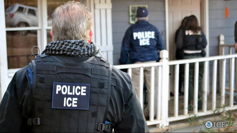 U.S. Immigration and Customs Enforcement (ICE) officers conduct a targeted enforcement operation in Atlanta, Georgia, U.S. on February 9, 2017. Courtesy Bryan Cox/U.S. Immigration and Customs Enforcement via REUTERS
