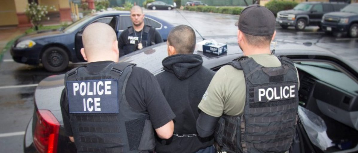 U.S. Immigration and Customs Enforcement (ICE) officers detain a suspect as they conduct a targeted enforcement operation in Los Angeles, California, U.S. on February 7, 2017. Courtesy Charles Reed/U.S. Immigration and Customs Enforcement via REUTERS