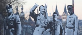FILE PHOTO:Activists placed life-size cardboards, depicting Benito Mussolini, Adolf Hitler, Josef Stalin and Philippe Petain in front of the Kaiser Wilhelm monument at the Deutsches Eck (