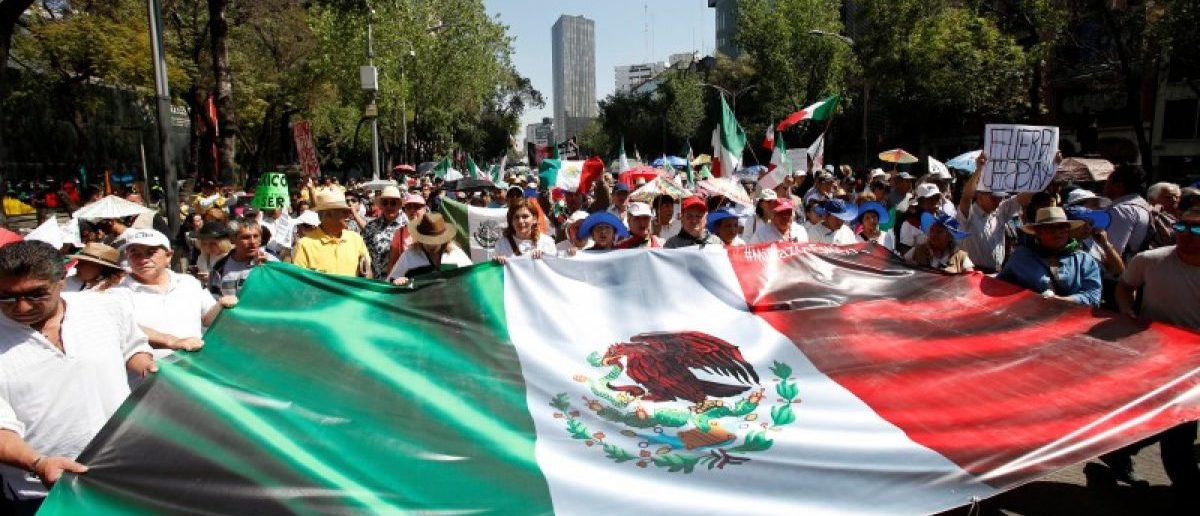 Demonstrators hold a banner with an image of the Mexican flag during a march to protest against U.S. President Donald Trump's proposed border wall, and to call for unity, in Mexico City, Mexico, February 12, 2017. REUTERS/Ginnette Riquelme