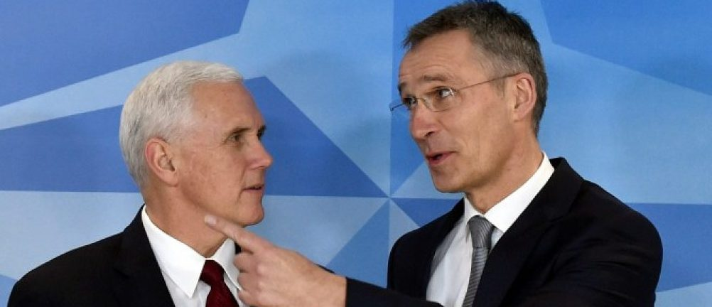 NATO Secretary-General Jens Stoltenberg welcomes U.S. Vice President Mike Pence at the NATO headquarters in Brussels, Belgium, February 20, 2017. REUTERS/Eric Vidal
