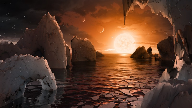 The possible surface of TRAPPIST-1f, one of the newly discovered planets in the TRAPPIST-1 system. REUTERS/NASA/JPL-Caltech