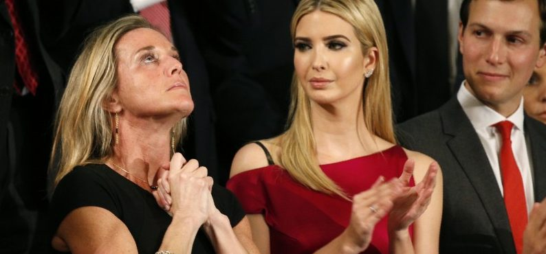"U.S. President Trump Addresses Joint Session of Congress - Washington, U.S. - 28/02/17 - Carryn Owens (L), widow of Senior Chief Petty Officer William ""Ryan"" Owens, reacts as Ivanka Trump, daughter of U.S. President Donald Trump, and her husband Jared Kushner (R), applaud after Owens was mentioned by President Trump. REUTERS/Kevin Lamarque"