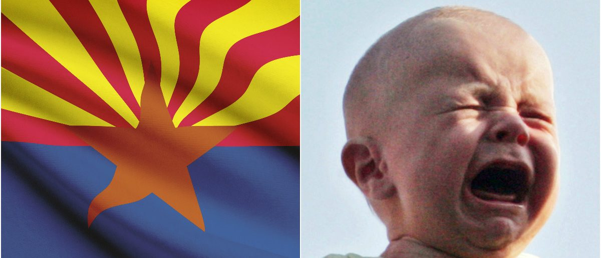 Arizona Flag: Shutterstock, Crying baby: REUTERS/Jim Bourg