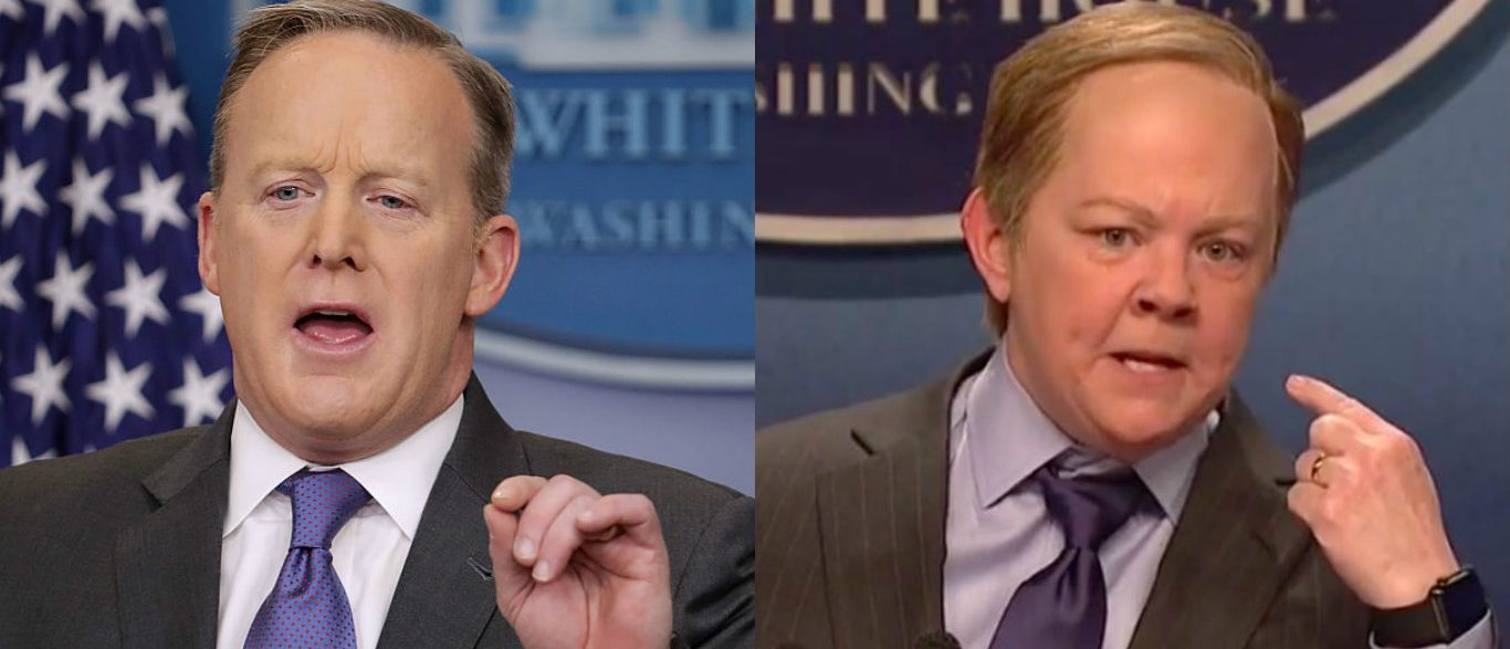 Sean Spicer and Melissa McCarthy (Photos: Getty Images, YouTube screen grab)