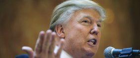 US tycoon Donald Trump addresses a press