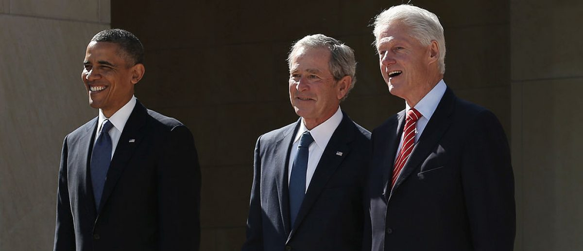 DALLAS, TX - APRIL 25: (L-R) U.S. President Barack Obama, former President George W. Bush and former President Bill Clinton attend the opening ceremony of the George W. Bush Presidential Center April 25, 2013 in Dallas, Texas. (Photo by Alex Wong/Getty Images)