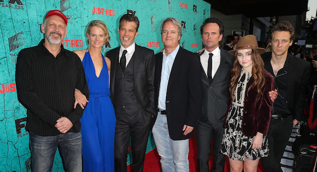 HOLLYWOOD, CA - APRIL 13: (L-R) 'Justified' cast members Nick Searcy, Joelle Carter, Timothy Olyphant, Walton Goggins, Kaitlyn Dever, and Jacob Pitts with show creator, Graham Yost (C), attend the premiere of FX's 'Justified' series finale at ArcLight Cinemas Cinerama Dome on April 13, 2015 in Hollywood, California. (Photo by Imeh Akpanudosen/Getty Images)