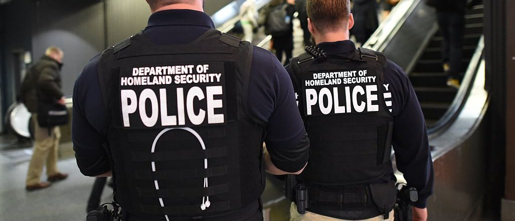 """US Department of Homeland Security police walk through Penn Station on November 24, 2015 in New York. After a string of terror attacks in several countries, the US government issued a worldwide travel alert warning American citizens of """"increased terrorist threats"""". TIMOTHY A. CLARY/AFP/Getty Images"""